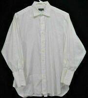 Robert Talbott Mens 17-33 Shirt White French Cuffs Long Sleeve Button Up Cotton