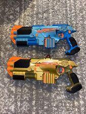 Tiger Lazer Tag Phoenix LTX Blue & Gold Guns W/ Shotgun Laser 2 Player Set READ