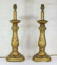 A Pair of Table Lamps Tall Vintage Art Deco Column Bronze Finish Antique Style