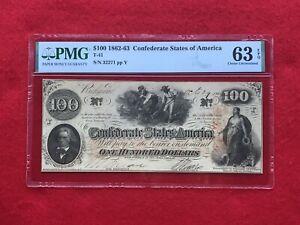 "T-41 1862-1863 $100 Dollar CSA Confederate ""Hoer"" Note *PMG 63 EPQ Choice Unc*"