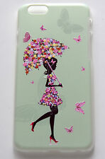 iPhone 6 4.7 3D raised pattern beauty girl pink butterfly umbrella cover case
