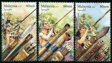 Blow Guns set of 3 mnh stamps 2018 Malaysia hunting weapons