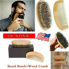 Men Boar Hair Bristle Beard Mustache Brush Military Round Wood Handle Comb Tool