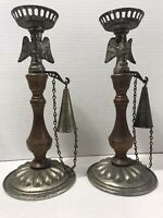 Vintage Set Of 2  Metal And Wood Candle Holder With Eagle and Snuffer.        3B