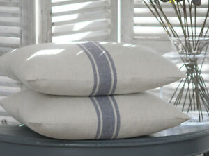LUXURY WHITE BLUE FRENCH STRIPE VINTAGE CUSHION FEATHER MOTHERS DAY & PAD CHIC