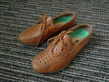 LADIES WELKIN SPORT BOWLS SHOES TAN LEATHER MOCCASIN SIZE UK 3
