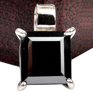925 Sterling Silver & 4.80Ct Square Cut AA Natural Black Diamond Women's Pendant