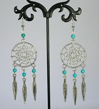 Silver alloy dreamcatcher feather earrings, turquoise stone beads, silver hooks