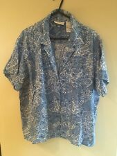 LIZ CLAIBORNE LADIES Pale Blue And White Blouse Short Sleeves Size Petite l VGC