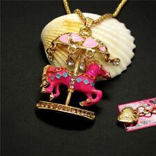 Betsey Johnson caballo de carrusel encanto cadena collar colgante de oro Bolsa De Regalo Gratis