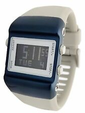 New Nike Press WC0038-098 Mens Iron/Blue Fox Digital Chronograph Silicone Watch