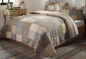 King Quilt Handtitched Country Block Patchwork Tan Farmhouse Chic Sawyer Mill