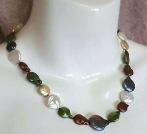💙 Multicoloured Flat Coin Button Genuine Pearl Necklace