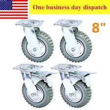 Heavy Duty 8 inch Caster Wheels Rubber Swivel Casters Mute Ball Bearing 4 Pack