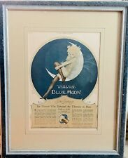 Vintage Framed Art Deco Advertising - Blue Moon Silk Stockings - 1926