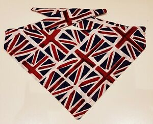 HANDMADE  UNION JACK  BANDANA WITH TIES DOG CAT PET GIFT 4 SIZES NECKERCHIEF