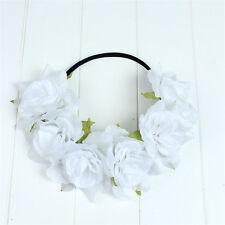 White Rose Flower Headband Hair Crown Festival Boho Garland Elastic Hairband