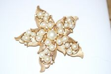 #D43  GOLD TONE AND PEARLS STAR BROOCH SIGNED TRIFARI  2.5""