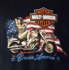 Harley-Davidson Marysville, WA Cruisin America Patriotic Pinup Black T-Shirt XL