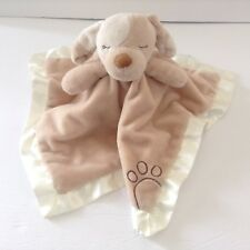 Douglas Baby Tan Dog Security Blanket Tail Embroidered Paw White Lovey
