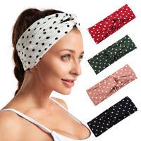 Polka Dot Cross Wide Headband Sport Yoga Turban Headwrap Women  Girls HairBand