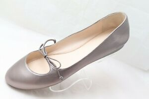 Cole Haan Womens Size 10.5B Pewter Metallic Leather Mary Jane Ballet Flats Shoes