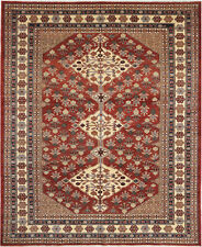 5X7 Hand-Knotted Kazak Carpet Tribal Red Fine Wool Area Rug D31769