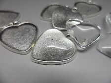 10 Plain Antique Silver Heart Bezel Pendant Kit,settings & Cabochons tray 20 mm.
