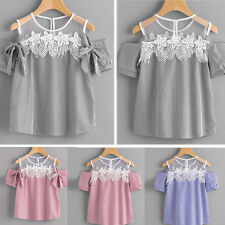 Fashion Women Summer Lace Striped Short Sleeve Off Shoulder Casual Tops Blouses