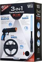 New Wii 3-IN-1 GAME ESSENTIALS PLUS RACING WHEEL DUAL TRIGGER BLASTER GLOW SABER