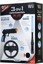 New Wii 3-IN-1 GAME ESSENTIALS PLUS RACING WHEEL DUAL TRIGGER BLASTER GLOW SABER