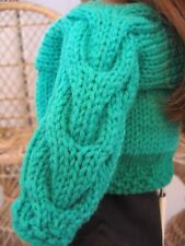"Hand Knit Green Cardigan Sweater with Cable Doll Clothes fits 18"" American Girl"