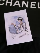 2 CHANEL Greeting Cards Karl Lagerfeld Drawing of Coco Using A Laptop 7 x 5