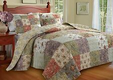 BEAUTIFUL OVERSIZED XXXL PATCHWORK FLORAL ROSE VINTAGE BEDSPREAD QUILT SET KING