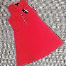 NWT SIZE PETITE XL DRESS BY ABS, POPPY RED KNIT WITH UNIQUE ZIP V-NECK & TEASE S