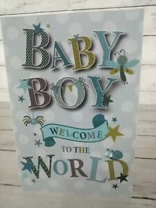 Baby Boy Welcome To The World, New Baby Card, Blue