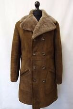 *Vintage* Sheepskin Coat Brown Shearling Malboro Man (size 38)