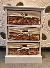 Wicker Baskets Drawer Bedside Table Cabinet Retro Vintage White Storage Bathroom
