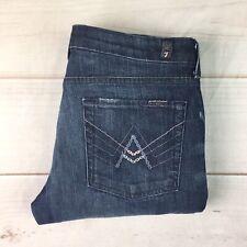 $178 7 Seven For All Mankind Women's 31 Dark Blue Denim A Pocket Boot Cut Jeans