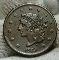 1839 Penny Coronet Large Cent 1C - Booby Head, Nice Coin, Free Shipping  (9015)
