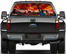 NY City US flame Flag 9/11 Liberty Statue  Rear Window Graphic Decal for  Truck