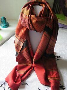 Large Indian silk scarf with stripes in rich orange red, black & gold & fringe