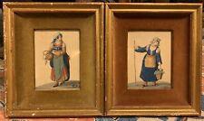 18th-19th Century Watercolor Portraits Women in Neapolitan Costumes European