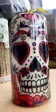 Giorno dei morti (rosso e bianco) SUGAR SKULL HAND Decorated pilastro candela 50hrs 15cm