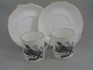 TWO CROWN STAFFORDSHIRE THOMAS BERWICK THE FIELDFARE COFFEE CANS AND SAUCERS