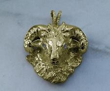 HUGE Solid 14K Gold Ram Zodiac Aries Men's Pendant Dodge VS1 Diamonds 37.2 Grams