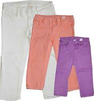New Girls Capri Pant Cropped Jeans White Orange Purple  Size 4-14 Yrs