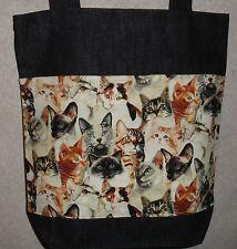 NEW Handmade Medium Gr Heads Cat Kitten Pets Denim Tote Bag Gift