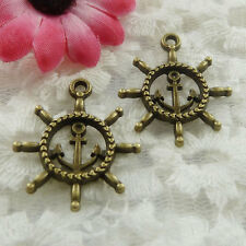 Free Ship 150 pieces bronze plated steering wheel charms 26x24mm #665