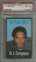 1972 NFLPA IRON ONS OJ SIMPSON BILLS/USC PSA NM-MINT 8